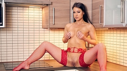 Melisa_Mendini_and_Victoria_Pure_Red_Stockings